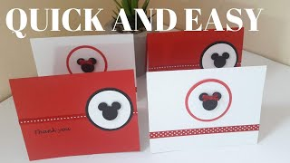 ❤SUPER EASY And SIMPLE MINNIE And MICKEY MOUSE INVITATION CARD THANK YOU CARD I Arleendesign