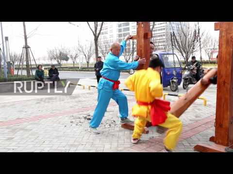 China: Say bye-bye babies, hello 'Man with the Iron Crotch'! Kung fu pro shows ball-breaking stamina