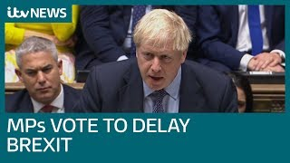 Johnson's Brexit deal suffers blow as delay amendment passed | ITV News