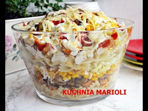 Salatka Z Kurczaka Makaronu I Pieczarek Kuchnia Marioli