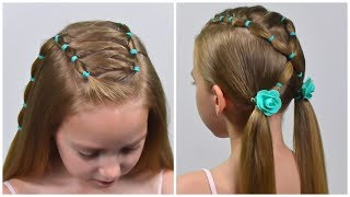 EASY Everyday Hairstyle With PIGTAILS And ELASTICS (Easy Little Girl Hairstyles For Girls #75) #LGH