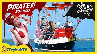 Pirate Ship Adventure! LB Faces Off with Pirates, Treasure Hunt for Toys & Giant Shark Surprise Egg
