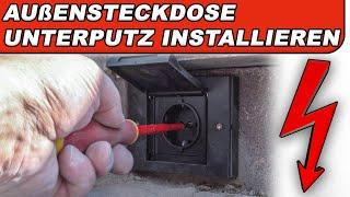 Außensteckdose Unterputz installieren (Strom im Garten) Steckdosen IP44