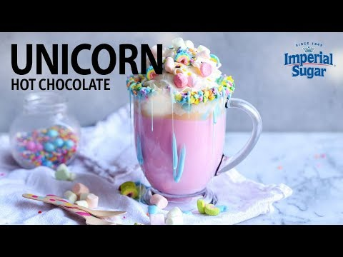 Kid friendly unicorn hot chocolate