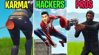 Grappling Hook to the BUTT! KARMA vs HACKERS vs PROS - Fortnite Funny Moments (Battle Royale)