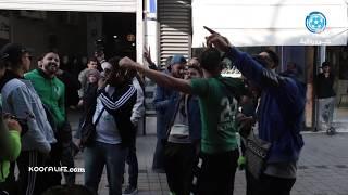 """أجواء غاية في الروعة من جماهير الرجاء في تونس و """"رجاوي فلسطيني"""" تُذهل المكشخين"""