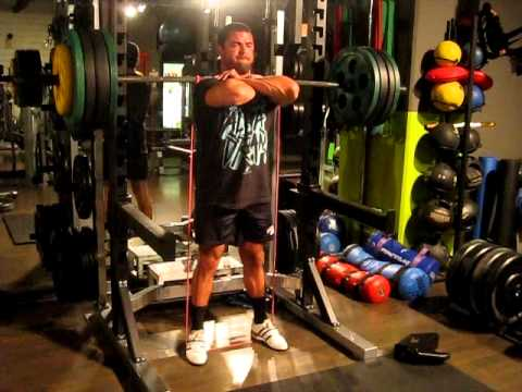 """Band-Resisted """"Bottoms Up"""" Front Squats"""