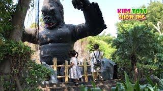 GIANT Gorilla in zoo Africa adventure animals for children video for kids