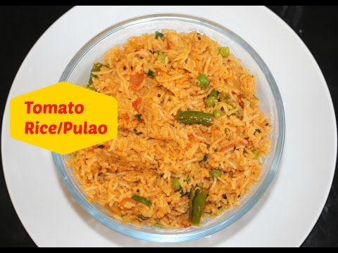 Tomato Rice Recipe| Tomato Pulao Indian Vegetarian Lunch Recipe By Harshis Kitchen