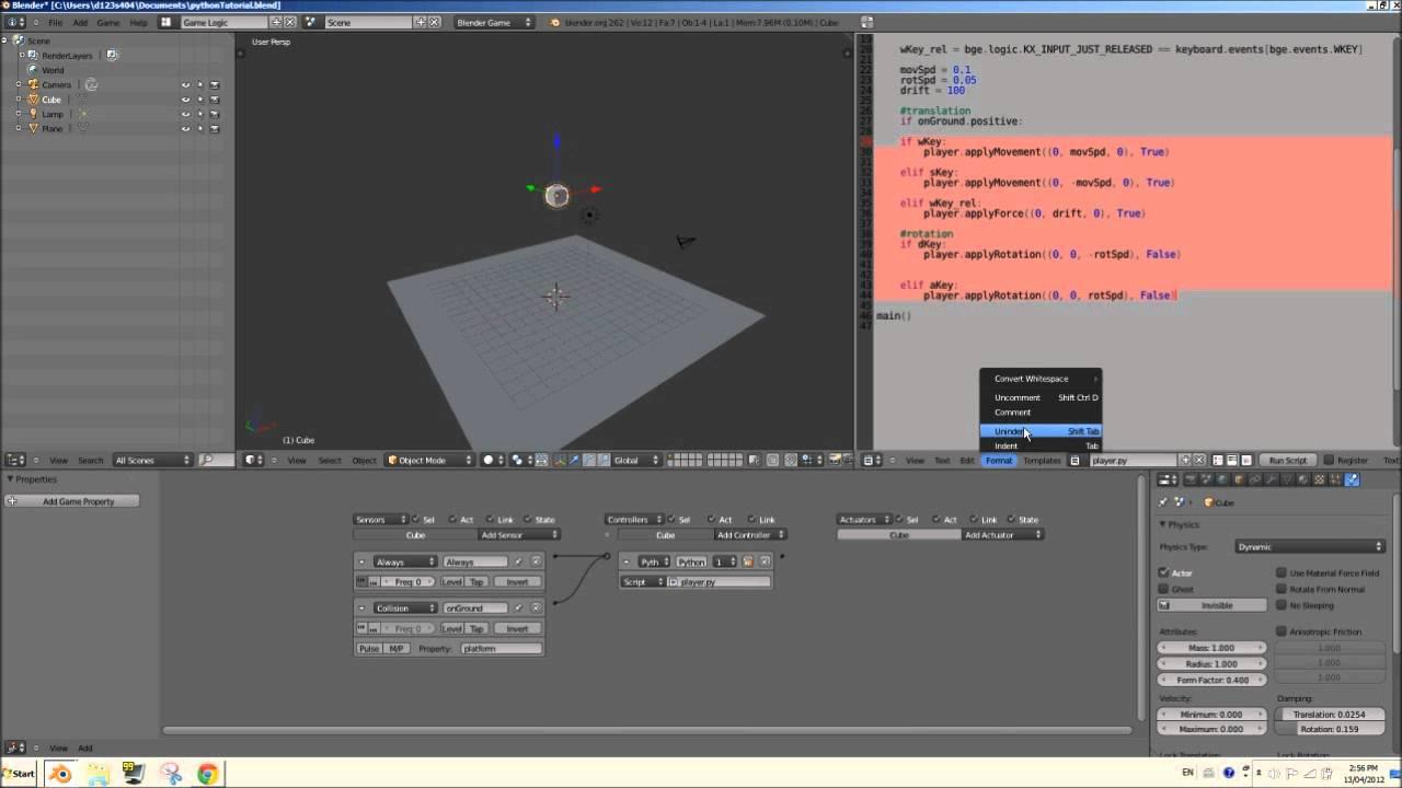 [HD] Blender 2.6 Game Engine Python Scripting Tutorial - Sensors & Actuators - Part 01