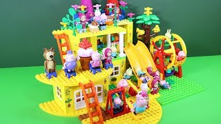 Peppa Pig Blocks Mega House With Water Slide Toys For Kids - Lego Duplo House Building Toys #5