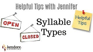 Syllable Types⎪Kendore Learning/Syllables Learning Center