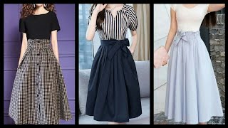 Simple And Elegant Knee Length A Line Midi Skirts Design And Outfit Ideas For Girls And Women