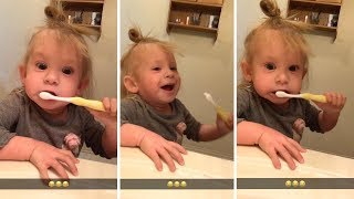 Little Girl Pretends Her Toothbrush Is Electric To Copy Dad