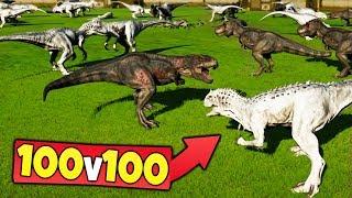 100 INDOMINUS REX Vs 100 TREX In Jurassic World Evolution