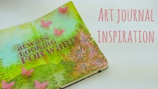 Inspírate conmigo! Always looking forward. Página de Art Journal. Art journal process