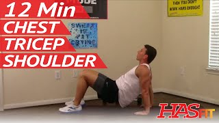 12 Min Crushing Chest Shoulders Triceps Workout - Chest Tricep Shoulder Workout by HASfit