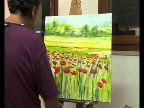 DIPINGERE UN CAMPO DI  PAPAVERI CON COLORI AD  OLIO-painting a poppy field