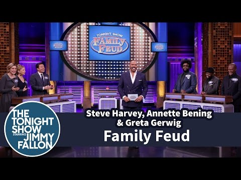 Tonight Show Family Feud with Steve Harvey, Annette Bening and Greta Gerwig