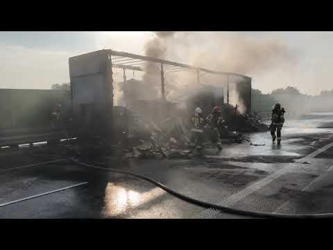 Wideo1: Pożar naczepy ciągnika siodłowego na drodze S5