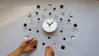 """Настенные часы (50 см) большие со стразами камнями красивые """"Солнце3 Серебро-Черный"""""""