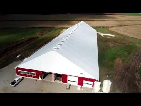 Innlawn Farms 120' x 378' Fabric Building Robot Dairy Barn   Virtual Tour