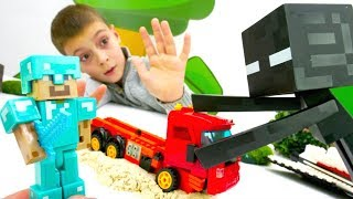 Мультики про машинки Майнкрафт! Стив против Эндермена! Видео для мальчиков.