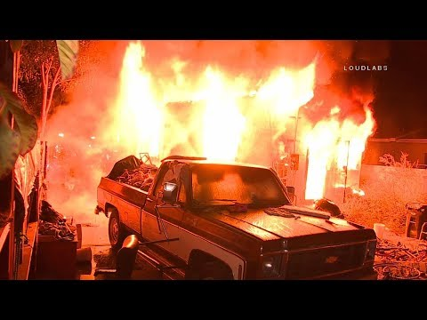 89th Street House Fire / South LA   RAW FOOTAGE