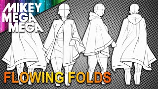 How To Draw CLOAK CAPE HANGING FLOWING FOLDS