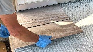 DIY! Laying Porcelain Tile on a Concrete Porch