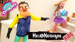 Hello Neighbor Kid in Real Life! Disney Doorables Toy Scavenger Hunt!!