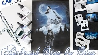 "Airbrush Tutorial Stencil AS-001 / AS-094 ""Wolf"" UMR-Design (English/Deutsch)"