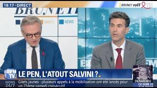 """Vers une """"internationale populiste ? SALVINI/ORBAN/Le Pen? Débat sur BFM TV chez BRUNET"""