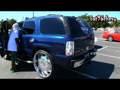 "Candy Bowling Ball Blue Chevy Tahoe On 30's, 21"" Subwoofers System - 1080p HD"