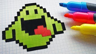 Handmade Pixel Art - How To Draw Slimer from Ghostbusters #pixelart #Halloween