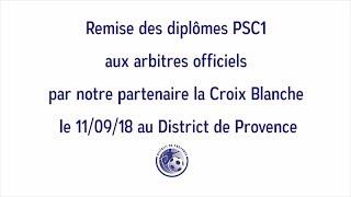 Remise du diplôme PSC1 aux Arbitres le 11/09/18
