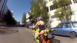Bomber Babe rides KTM RC8R Bee-DrifteR
