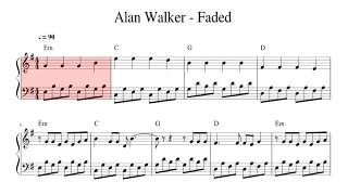 Faded Alan Walker Easy Piano Cover Sheet Music