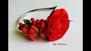 Ободок с красными цветами из фоамирана. Мастер класс.