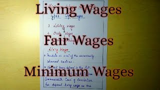 Living Wages, Fair Wages and Minimum Wages explained with notes