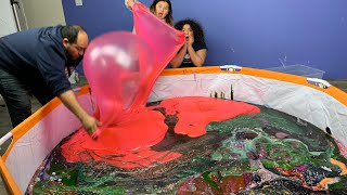 Mixing All Our Giant Slimes 1,000+ Pounds Of Slime - Biggest Slime Smoothie Ever