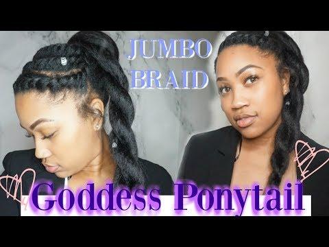 jumbo braid goddess ponytail crochet natural hair