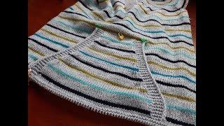 Пуловер с карманом (из остатков пряжи). Часть 4. Обзор связанного карман.