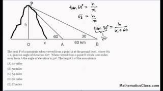 Trigonometry - Find The Height Of A Mountain. MathematicsClass.com (10b)