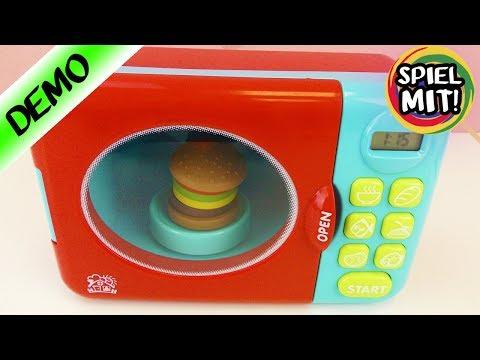 KINDER MIKROWELLE deutsch | PIZZA + BURGER in Spielküche machen | Puppenküchen Zubehör
