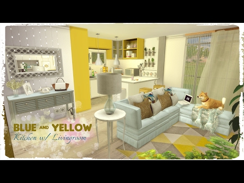 Sims 4 - Blue & Yellow Kitchen with living room (Build & Decoration)