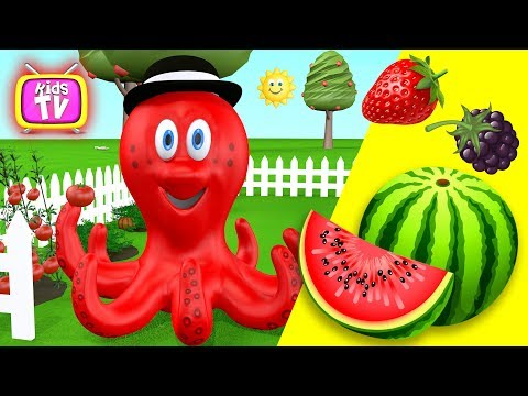 Learn colors with octopus - Learn vegetables and fruits education