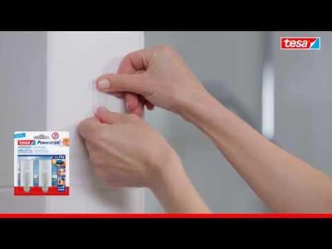 tesa Powerstrips - Selbstklebende Handtuchhaken, bis 2kg Halteleistung