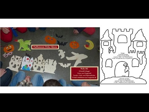 Halloween Laubsägevorlage Spukschloss, Bastelvorlage für Kinder