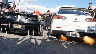 INSANELY LOUD CORVETTE LOSES to an EVO in a 2 Step Competition!